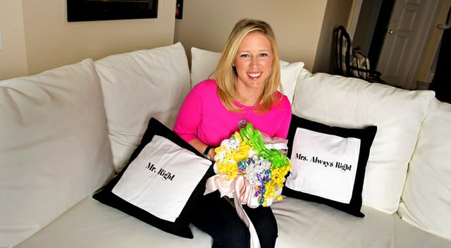 Morgan Pressel poses with with some fun wedding paraphanelia at her home in Boca Raton, FL. Pressel is planning her upcoming wedding.