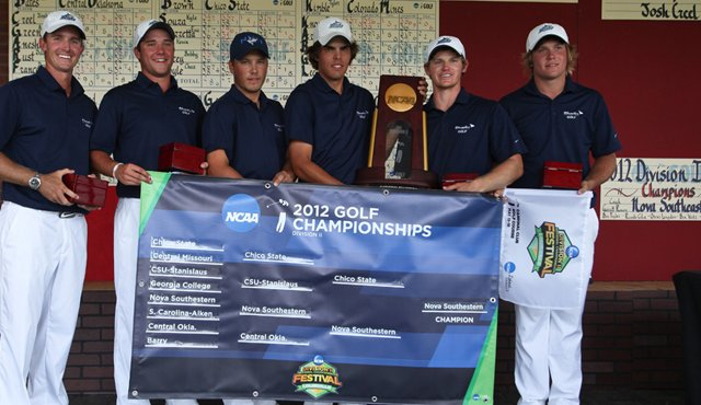 The Nova Southeastern men&#39;s team after winning the 2012 NCAA Division II Championship.