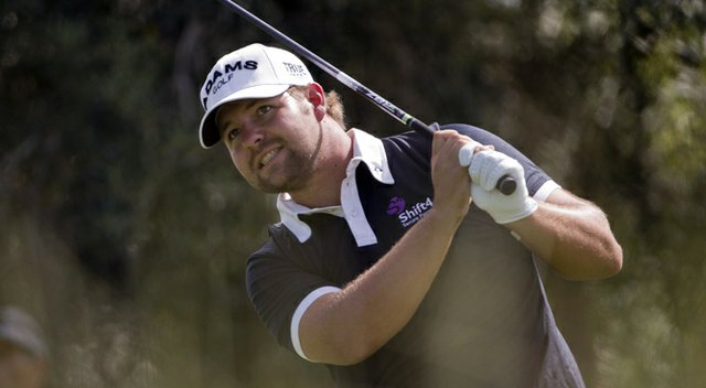 Ryan Moore tees off on the ninth hole during Round 1 of the Justin Timberlake Shriners Hospitals for Children Open.
