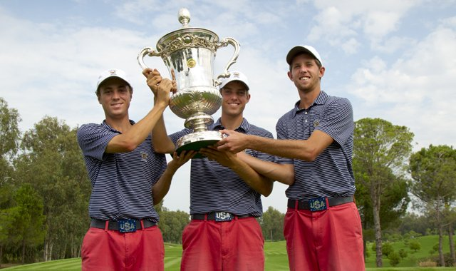 The U.S. team of Justin Thomas (left), Chris Williams and Steven Fox pose with the Eisenhower Trophy following their victory.
