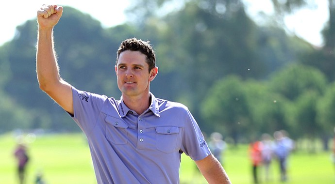 Justin Rose of England acknowledges the crowd after beating fellow countryman Lee Westwood to win the Turkish Airlines World Golf Final.