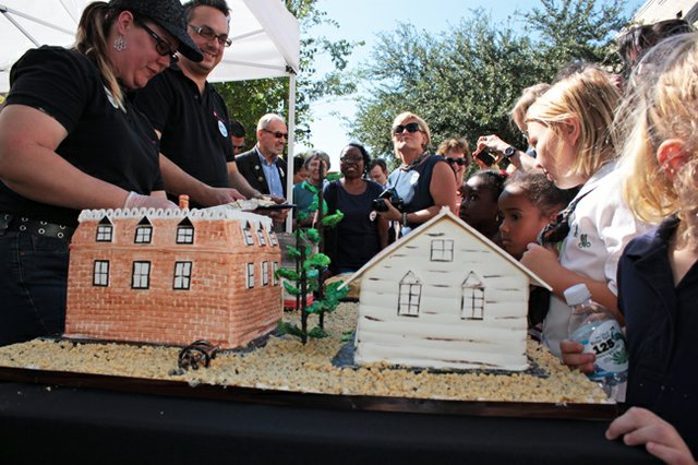 Residents literally chewed the scenery at Winter Park's 125th anniversary celebration, featuring a cake baked by The Flour Shop to look like the city in 1887.