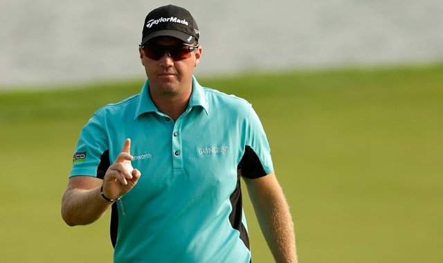 Peter Hanson celebrates a birdie on the 13th hole during the second round of the BMW Masters.