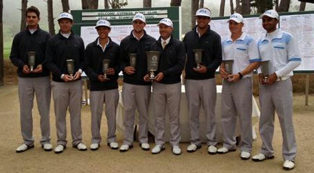 UCLA poses with their trophies after their victory at the Stanford Classic at Cypress Point.