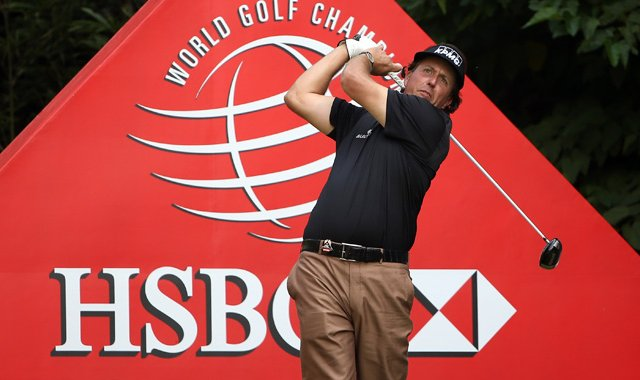 Phil Mickelson during the first round of the WGC HSBC Champions at the Mission Hills Resort.