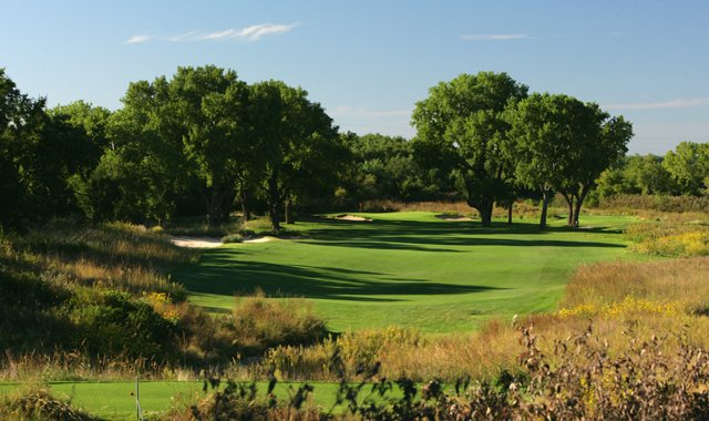 The par-4 12th hole at the Prairie Dunes Country Club in Hutchinson, Kansas, site of the 2014 Men&#39;s NCAA Championship.