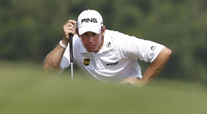 Lee Westwood looks at a putt during Round 3 of the HSBC Champions.