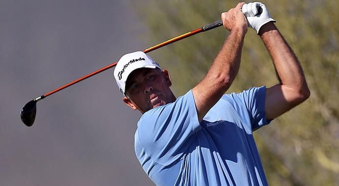 Tom Lehman hits a tee shot on the fifth hole during the final round of the Charles Schwab Cup Championship.