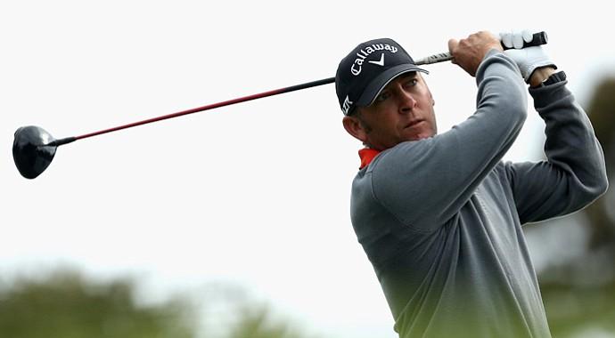 Matthew Guyatt of Australia tees of during Day 2 of the Australia Masters at Kingston Heath Golf Club.