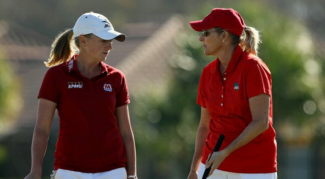 Stacy Lewis, left, and Betsy King, right, won money for their charities by winning the ISPS Handa Heroes, a nine-hole, made-for-TV charity event honoring golf philanthropist Dr. Haruhisa Handa, Monday, Nov. 19 at TwinEagles Golf Club in Naples, Fla.