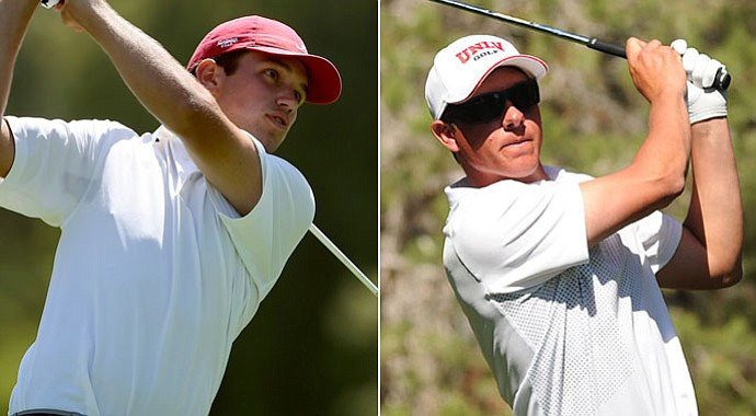 Alabama's Cory Whitsett, left, and UNLV's Kevin Penner are tied for the lead after two rounds.