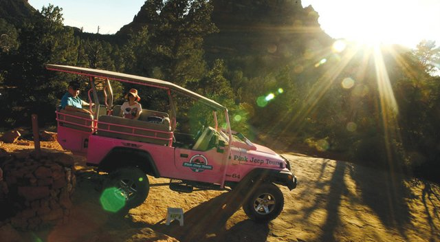 Taking a Pink Jeep Tour of the famous Red Rocks in the Coconino National Forest in Sedona, Ariz.