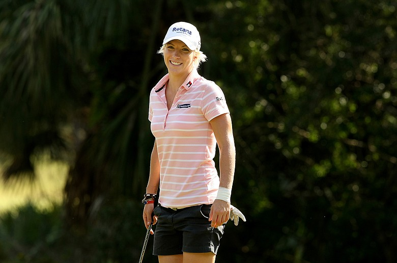Mel Reid during a Tuesday practice round for the final stage of LPGA Q-School.