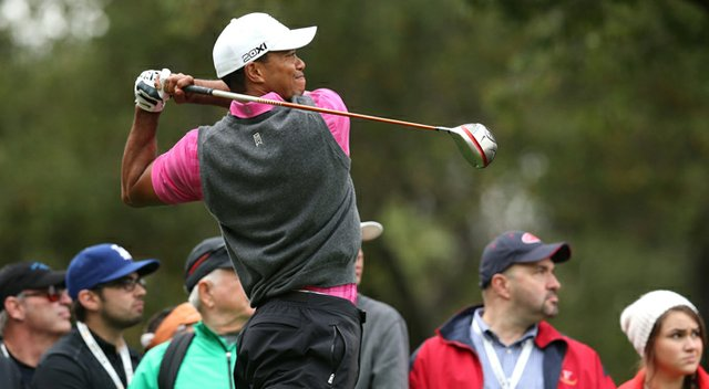 Tiger Woods hits his tee shot on the second hole during the second round of the Tiger Woods World Challenge.