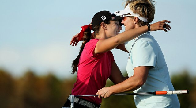 Taylor Karle, left, went par-birdie-birdie to earn her card in a playoff during the final round of LPGA Q-School. At right, Nicole Jeray also earned her card after five playoff holes.
