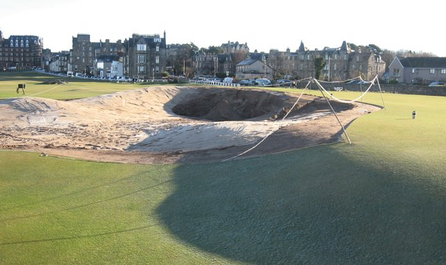The iconic Road Hole bunker on No. 17 is being slightly widened and the green recontoured to be more receptive to approach shots.