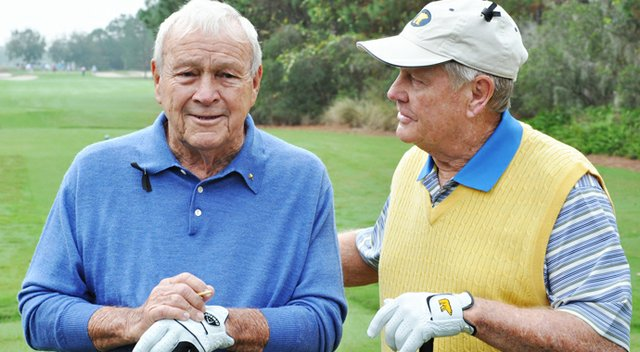 Arnold Palmer and Jack Nicklaus chat at the back of the 1st tee box during the first round of the Father/Son Challenge at the Ritz-Carlton Golf Club in Orlando.