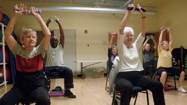 Seniors get fit at the SilverSneakers Fitness Program at the Roth Jewish Community Center, which boasts of success stories getting wheelchair-bound seniors on their feet again.