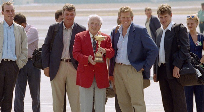 Jaime Ortiz-Patino (center), owner of the Valderrama Golf Course, holds the Ryder Cup trophy with Colin Montgomerie and Lee Westwood of Team Europe as the teams arrive to contest the 32nd Ryder Cup in 1997.