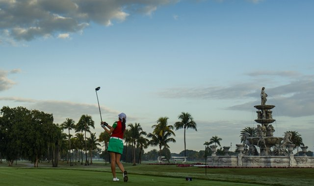 Fabiola Arriaga plays her tee shot on the first hole as seen during the first round of the 2013 Copa de las Americas at the Doral Golf Resort &amp; Spa in Doral, Fla.