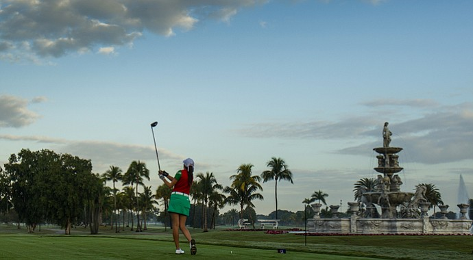Fabiola Arriaga plays her tee shot on the first hole as seen during the first round of the 2013 Copa de las Americas at the Doral Golf Resort & Spa in Doral, Fla.