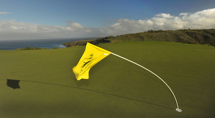 The pin flag on the 11th green bends in the wind before the replay of the first round of the Hyundai Tournament of Champions at Plantation Course.