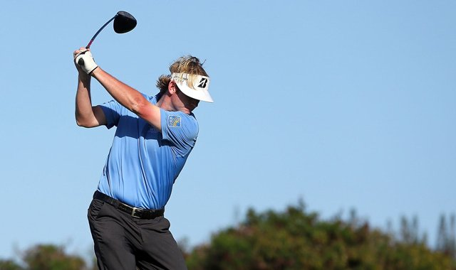 Brandt Snedeker hits a tee shot on the third hole during the second round of the Hyundai Tournament of Champions at the Plantation Course.