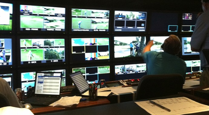 Inside the production truck for the NBC/Golf Channel broadcast of the Sony Open in Honolulu.