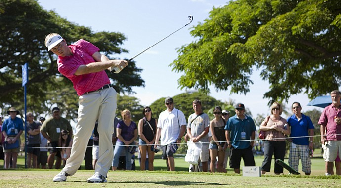 Russell Henley drives off the fourth tee during the final round of the Sony Open.