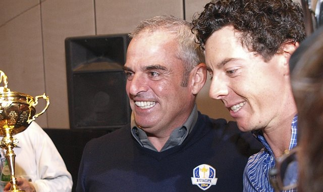 Rory McIlroy (right) congratulates Paul McGinley on his appointment as European Ryder Cup captain for 2014.