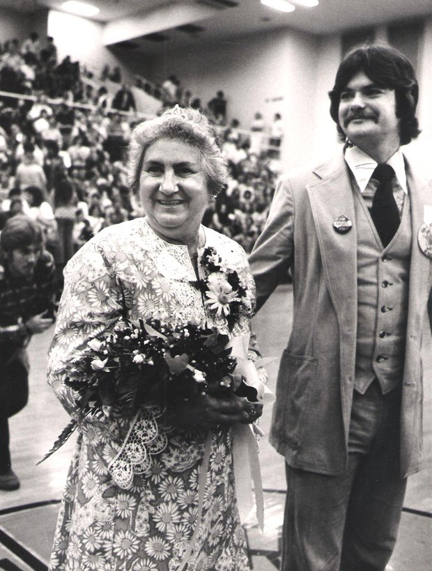 Rita Reutter was the nation's oldest homecoming queen at 58-years-old, escorted by Lee Constantine in this 1977 photo, before he became a state senator and county commissioner.