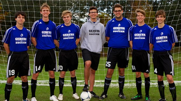 Jordan Stewart, left of center, has shattered school records at The Geneva School while earning academic honors along the way. The National Soccer Coaches Association of America recently named him as part of its high school academic team.