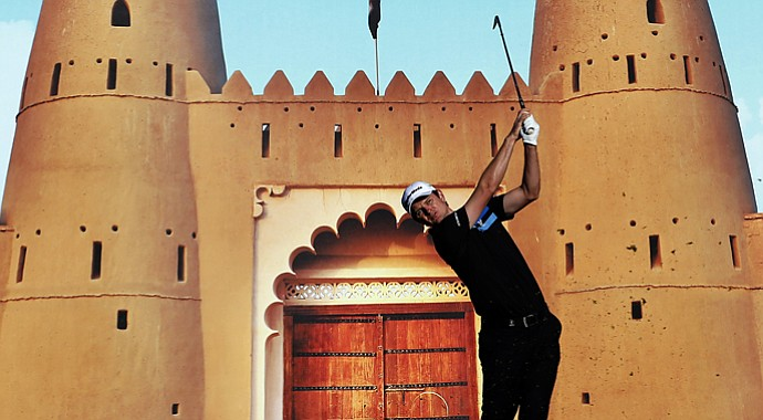 England's Justin Rose plays a shot during the second round of the Abu Dhabi Golf Championship.