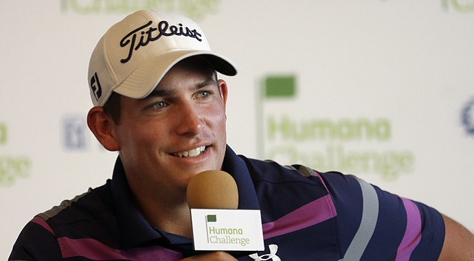 Scott Stallings smiles during a news conference after finishing his third round of the Humana Challenge PGA golf tournament on the Nicklaus Private Course at PGA West, Saturday, Jan. 19, 2013, in La Quinta, Calif.