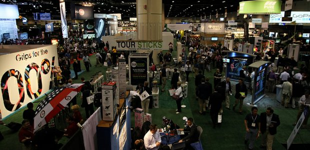 A view of the the 2013 PGA Merchandise Show from Bridgestone Golf&#39;s upper level.