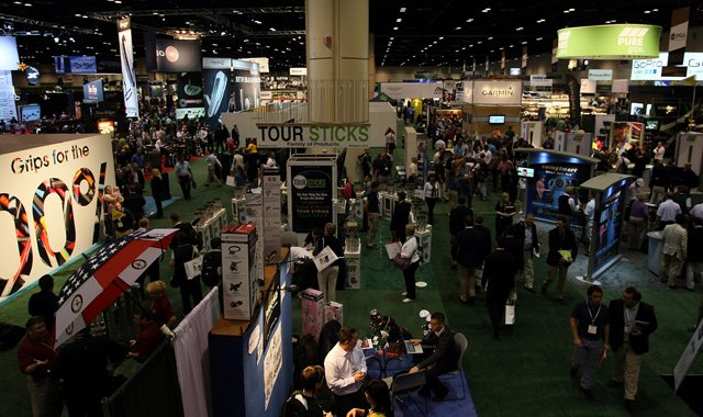 A view of the the 2013 PGA Merchandise Show from Bridgestone Golf's upper level.