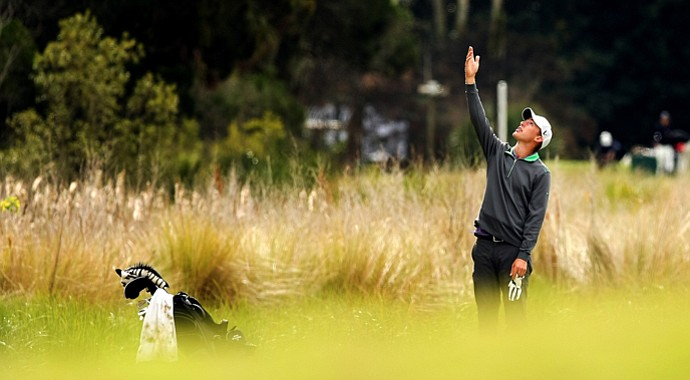 Peter Williamson tries to figure out where his ball hit at No. 10 during the 2013 Jones Cup Invitational at Ocean Forest.