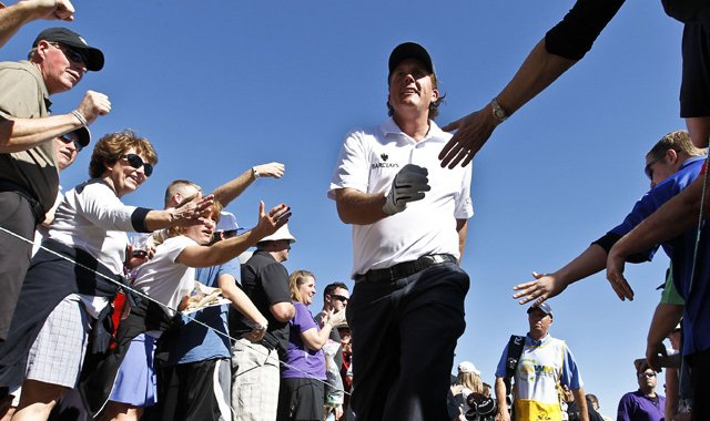 Phil Mickelson carried a six-shot lead into the final round at the Waste Management Phoenix Open on Sunday.
