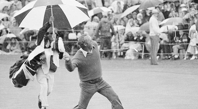 Arnold Palmer sails his visor into the crowd at the 18th green at Bermuda Dunes after knocking in a birdie putt that clinched victory for him on Feb. 11, 1973 in the Bob Hope Desert Golf Classic.