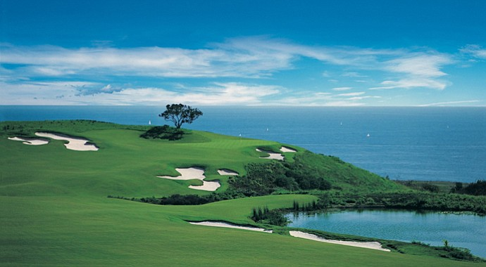 The 17th hole on the Ocean North Course at Pelican Hill GC.