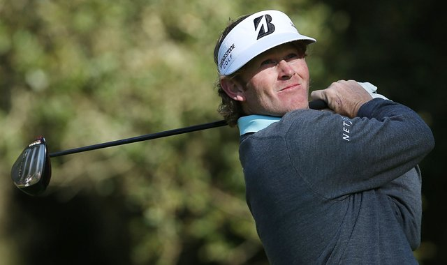 Brandt Snedeker hits his tee shot on the eighth hole during the second round of the AT&amp;T Pebble Beach National Pro-Am at Spyglass Hill.
