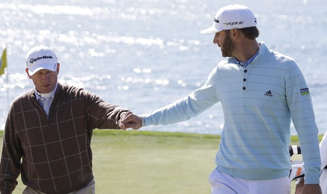Dustin Johnson (right) with celebrity partner Wayne Gretzky at the AT&amp;T Pebble Beach National Pro-Am.