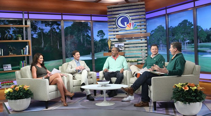 "From left, Holly Sonders, Gary Williams, Damon Hack, Charlie Rymer and Matt Ginella on the new set of the ""Morning Drive."""