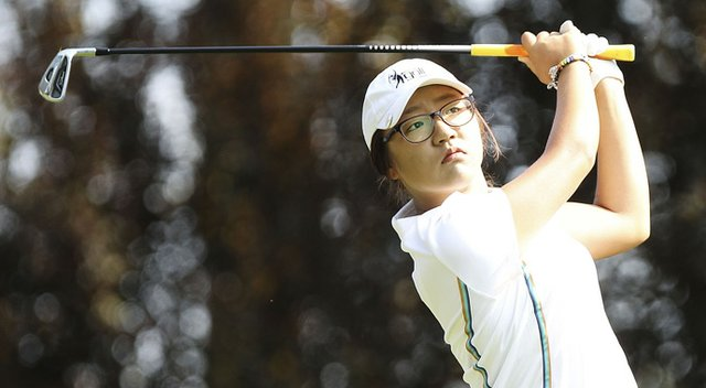 Lydia Ko tees off during Round 1 of the ISPS Handa Australian Open.