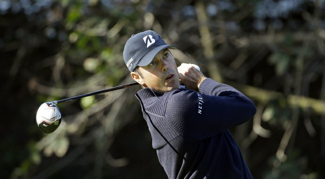Matt Kuchar drives on the 11th tee during the first round of the Northern Trust Open at Riviera Country Club in the Pacific Palisades area of Los Angeles Thursday, Feb. 14, 2013.