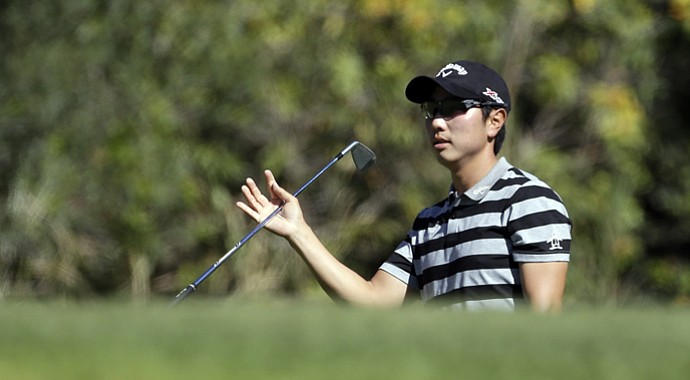 Sang-Moon Bae after his approach shot to the fifth green in the second round of the Northern Trust Open at Riviera Country Club in the Pacific Palisades area of Los Angeles Friday, Feb. 15, 2013.