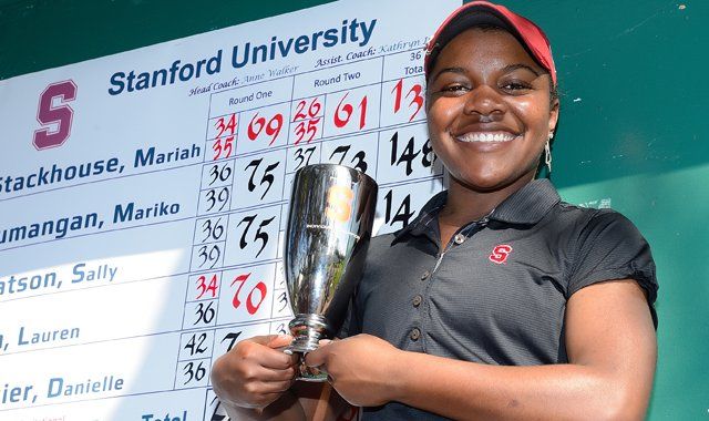 Stanford freshman Mariah Stackhouse set a new NCAA women&#39;s scoring record with her 10-under 61.