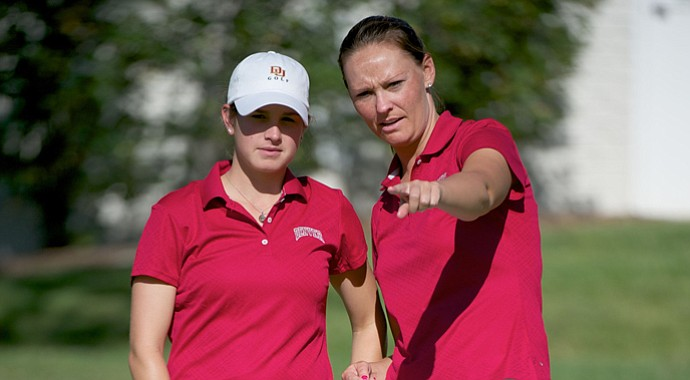 Denver head coach Lindsay Hulwick (right) with former player Anna Christenson.