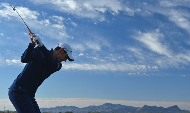 Matteo Manassero plays a shot during practice prior to the start of the WGC-Accenture Match Play Championship.