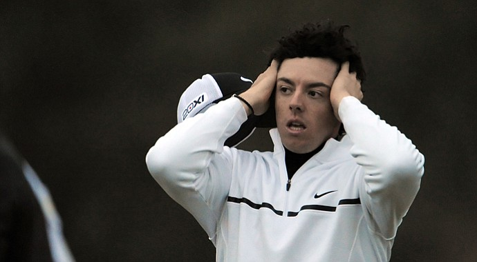 Rory McIlroy reacts after he lost his match to Shane Lowry during the first round of the WGC-Accenture Match Play.